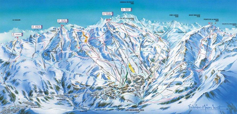 Les m nuires plans des pistes domaine skiable sur les for Plan de belle villa